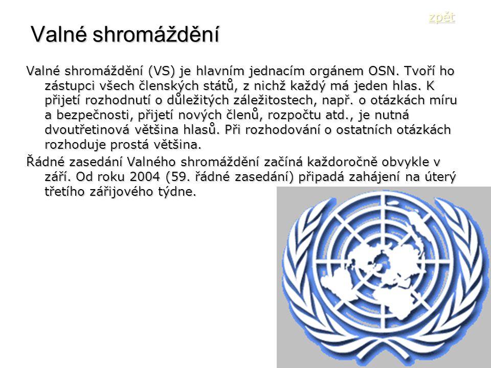 Valné shromáždění Valné shromáždění (VS) je hlavním jednacím orgánem OSN. Tvoří ho zástupci všech členských států, z nichž každý má jeden hlas. K přij