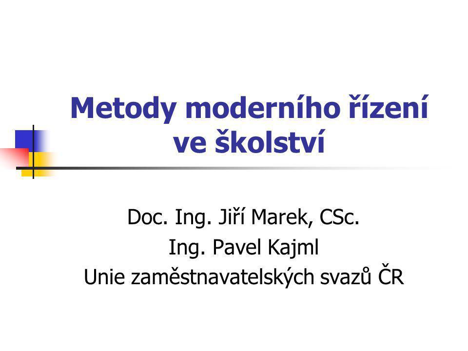 Metody moderního řízení ve školství Doc.Ing. Jiří Marek, CSc.