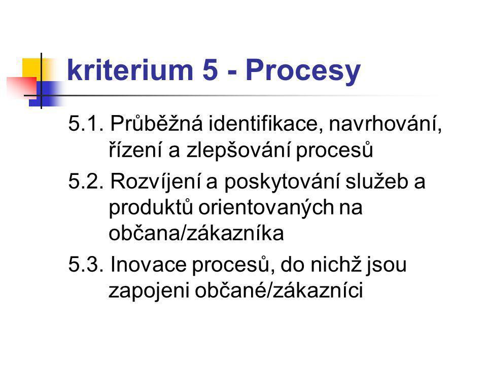 kriterium 5 - Procesy 5.1.Průběžná identifikace, navrhování, řízení a zlepšování procesů 5.2.