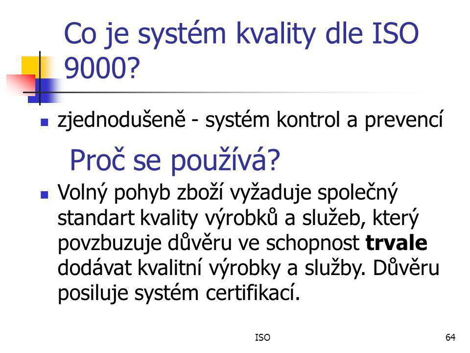 ISO64 Co je systém kvality dle ISO 9000.zjednodušeně - systém kontrol a prevencí Proč se používá.