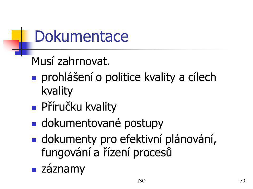 ISO70 Dokumentace Musí zahrnovat.