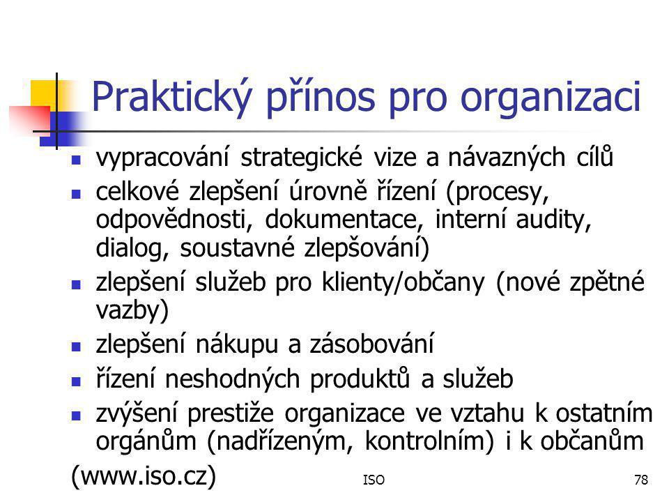 ISO78 Praktický přínos pro organizaci vypracování strategické vize a návazných cílů celkové zlepšení úrovně řízení (procesy, odpovědnosti, dokumentace, interní audity, dialog, soustavné zlepšování) zlepšení služeb pro klienty/občany (nové zpětné vazby) zlepšení nákupu a zásobování řízení neshodných produktů a služeb zvýšení prestiže organizace ve vztahu k ostatním orgánům (nadřízeným, kontrolním) i k občanům (www.iso.cz)