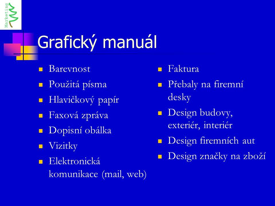 Grafický manuál Barevnost Použitá písma Hlavičkový papír Faxová zpráva Dopisní obálka Vizitky Elektronická komunikace (mail, web) Faktura Přebaly na f