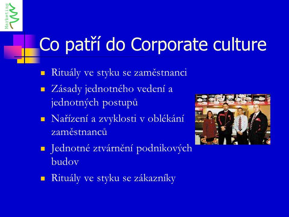Co patří do Corporate culture Rituály ve styku se zaměstnanci Zásady jednotného vedení a jednotných postupů Nařízení a zvyklosti v oblékání zaměstnanc