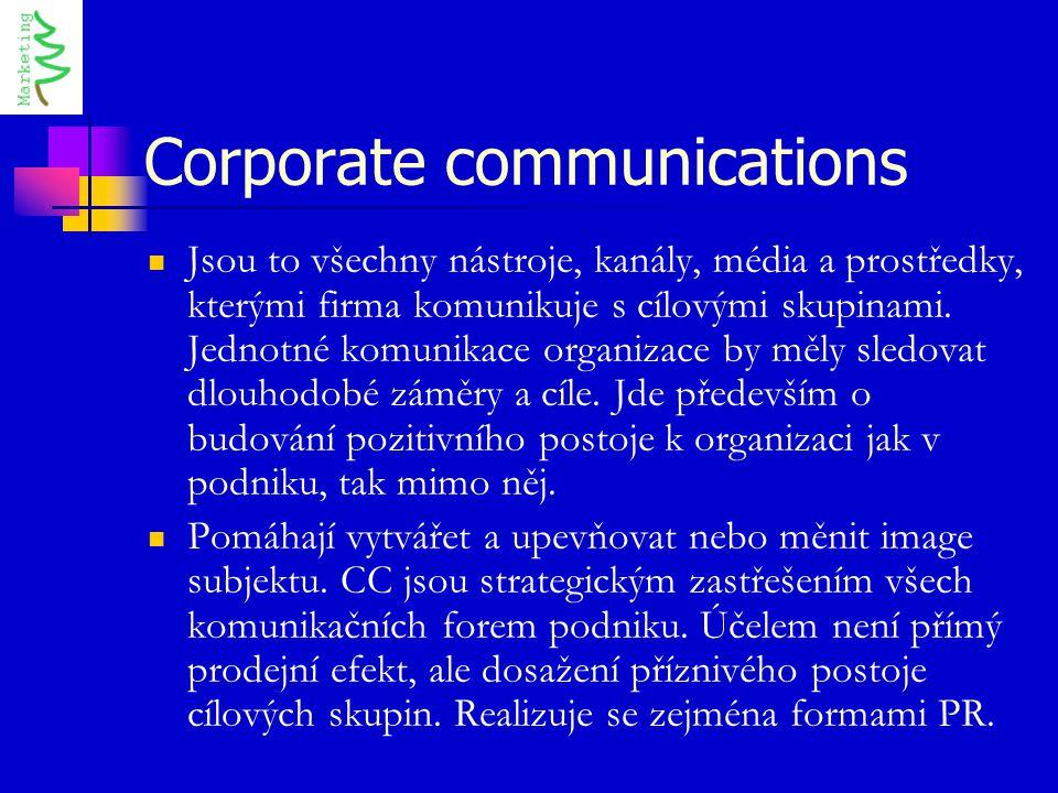 Corporate communications Jsou to všechny nástroje, kanály, média a prostředky, kterými firma komunikuje s cílovými skupinami. Jednotné komunikace orga