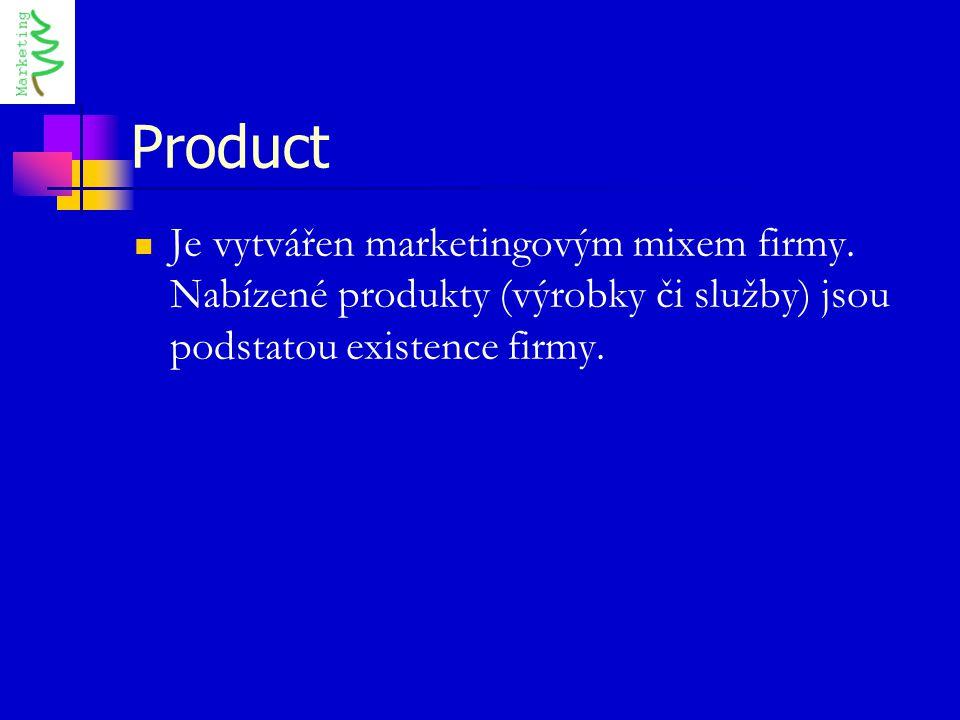 Product Je vytvářen marketingovým mixem firmy. Nabízené produkty (výrobky či služby) jsou podstatou existence firmy.