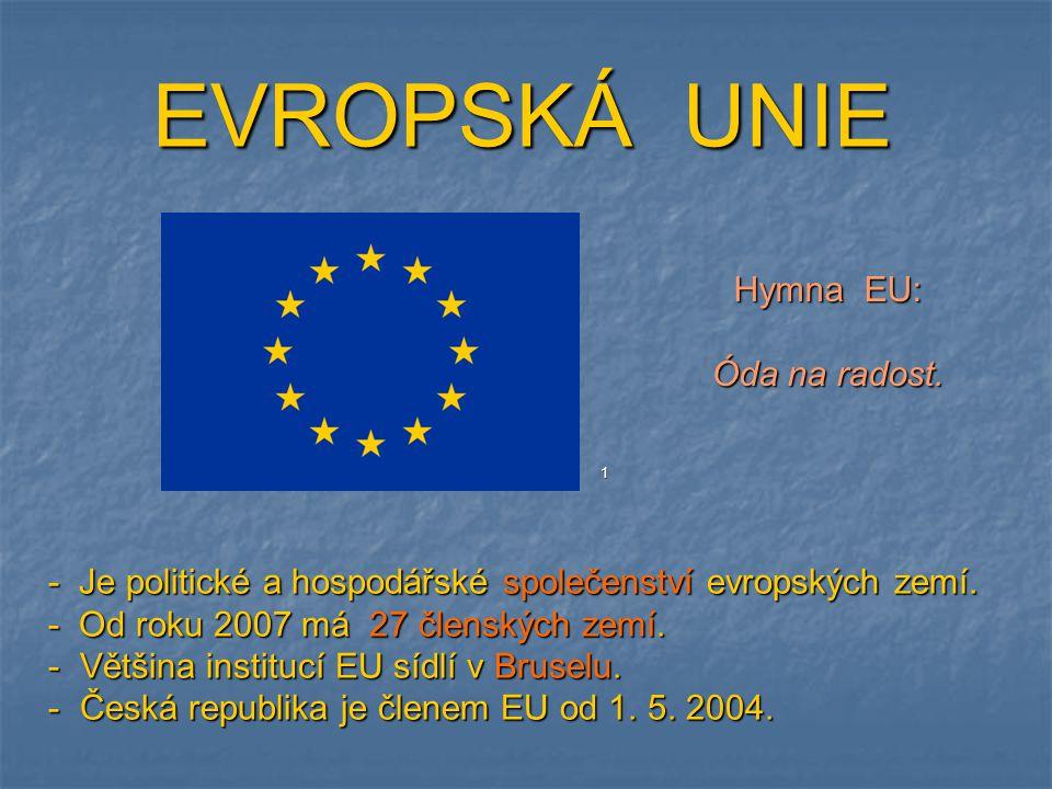 EVROPSKÁ UNIE - Je politické a hospodářské společenství evropských zemí. - Od roku 2007 má 27 členských zemí. - Většina institucí EU sídlí v Bruselu.