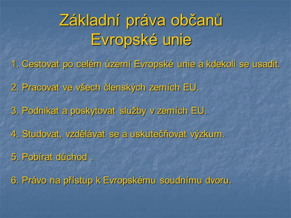 Základní práva občanů Evropské unie 1.Cestovat po celém území Evropské unie a kdekoli se usadit. 2.Pracovat ve všech členských zemích EU. 3.Podnikat a
