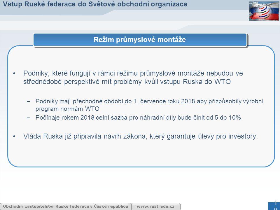 www.rustrade.cz Obchodní zastupitelství Ruské federace v České republice Podniky, které fungují v rámci režimu průmyslové montáže nebudou ve střednědo