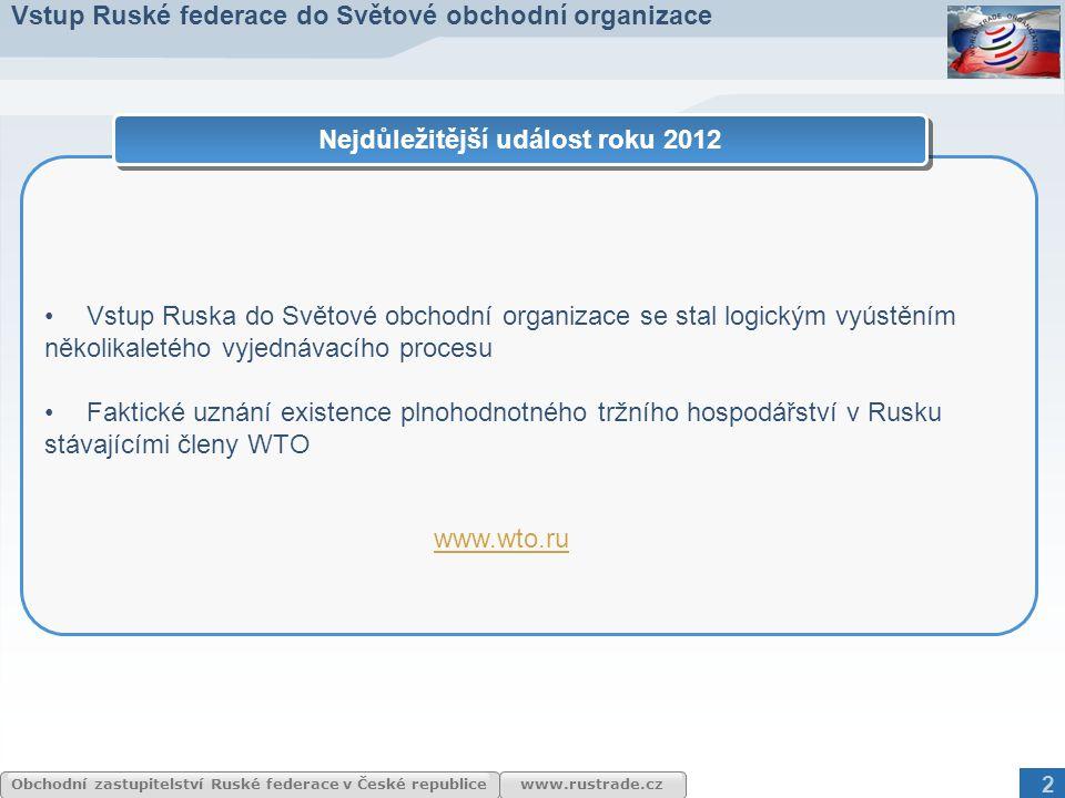 www.rustrade.cz Obchodní zastupitelství Ruské federace v České republice 2 Vstup Ruska do Světové obchodní organizace se stal logickým vyústěním někol