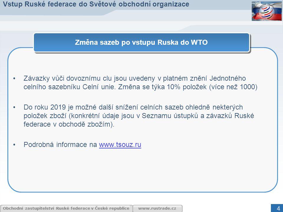 www.rustrade.cz Obchodní zastupitelství Ruské federace v České republice Závazky vůči dovoznímu clu jsou uvedeny v platném znění Jednotného celního sa