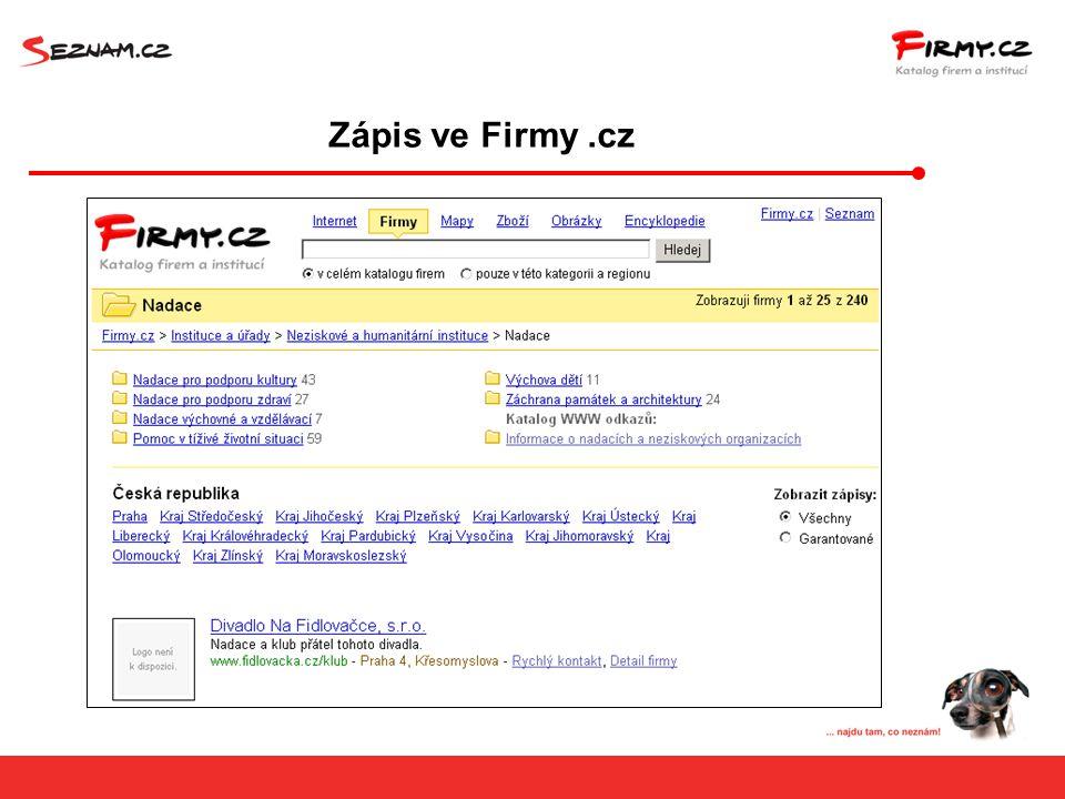 Zápis ve Firmy.cz