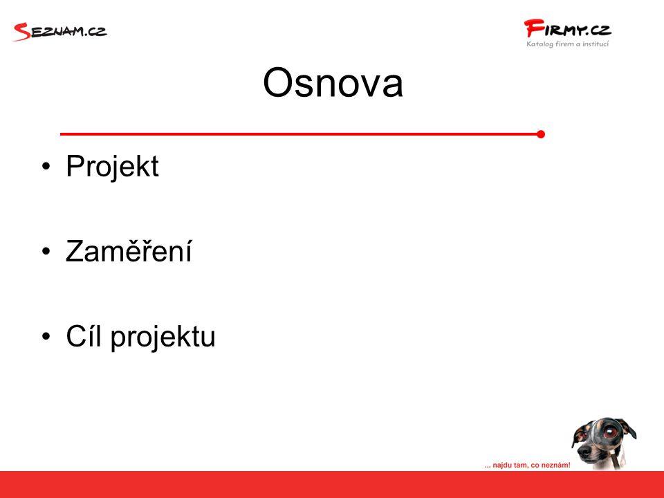 Osnova Projekt Zaměření Cíl projektu