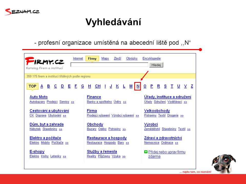 Vyhledávání - profesní organizace umístěná na abecední liště pod,,N