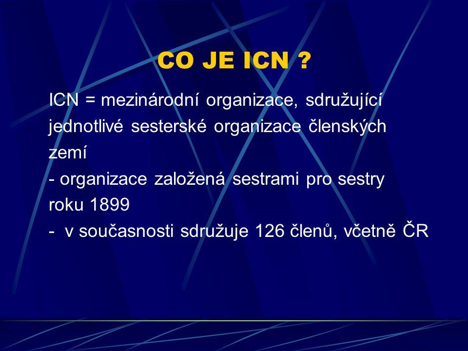 CO JE ICN ? ICN = mezinárodní organizace, sdružující jednotlivé sesterské organizace členských zemí - organizace založená sestrami pro sestry roku 189