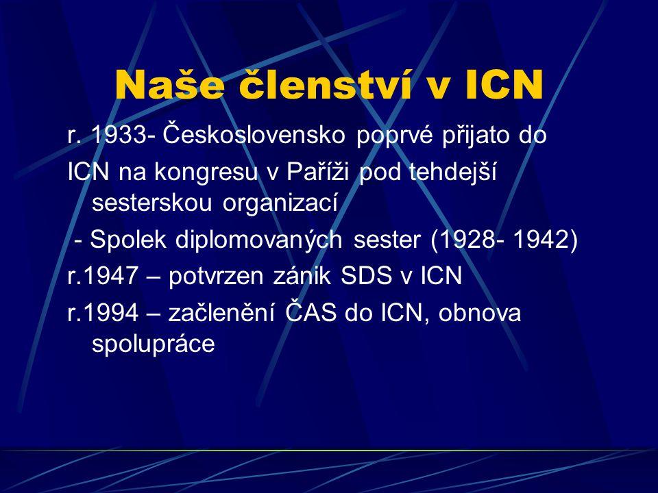Naše členství v ICN r. 1933- Československo poprvé přijato do ICN na kongresu v Paříži pod tehdejší sesterskou organizací - Spolek diplomovaných seste