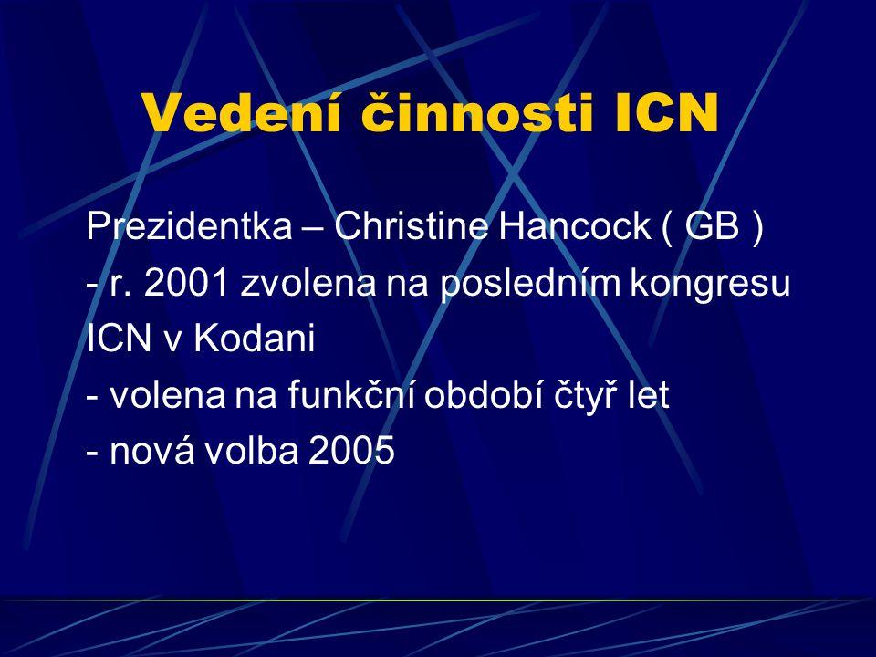 Vedení činnosti ICN Prezidentka – Christine Hancock ( GB ) - r. 2001 zvolena na posledním kongresu ICN v Kodani - volena na funkční období čtyř let -