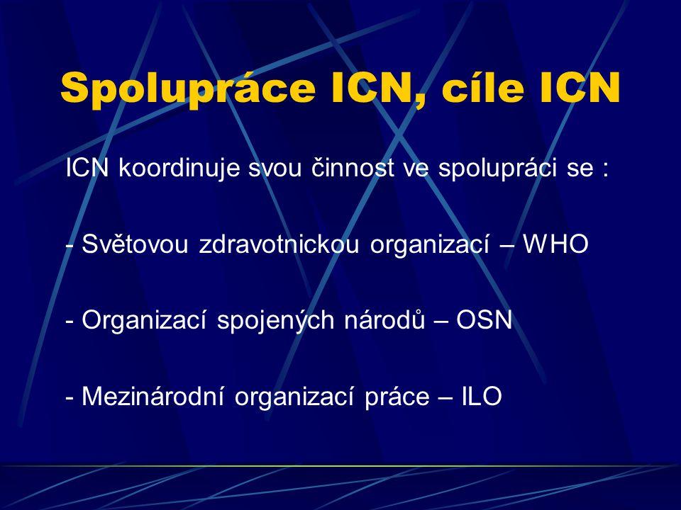 Spolupráce ICN, cíle ICN ICN koordinuje svou činnost ve spolupráci se : - Světovou zdravotnickou organizací – WHO - Organizací spojených národů – OSN