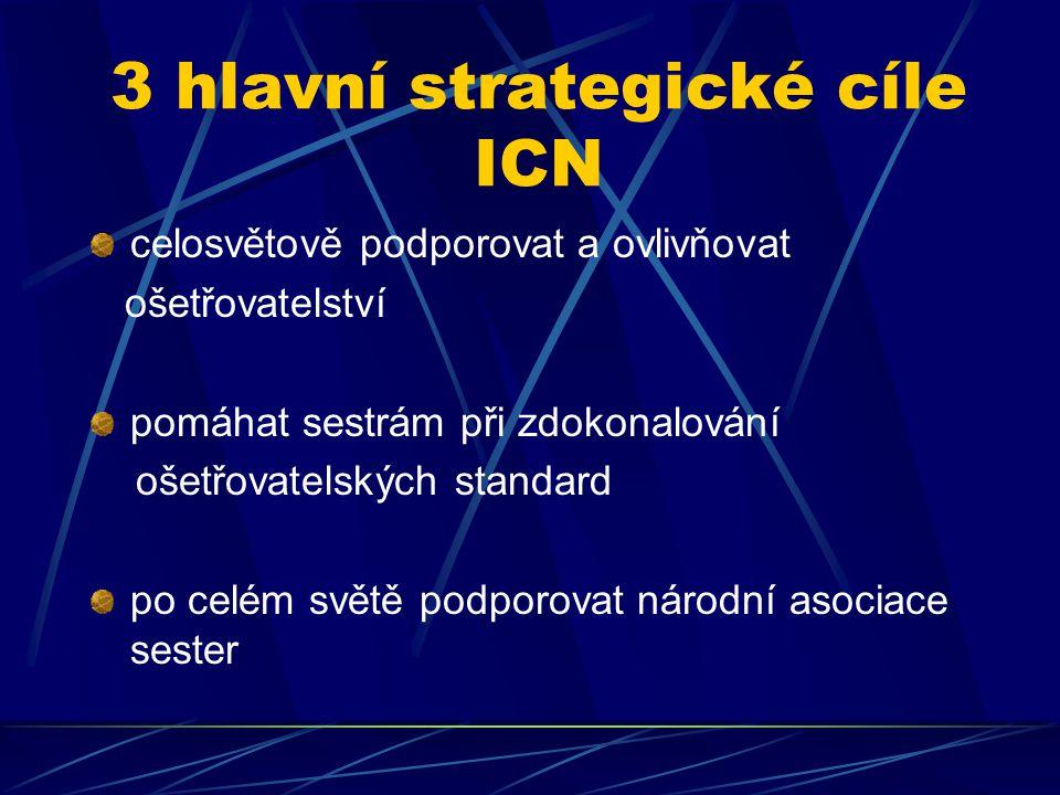 3 hlavní strategické cíle ICN celosvětově podporovat a ovlivňovat ošetřovatelství pomáhat sestrám při zdokonalování ošetřovatelských standard po celém