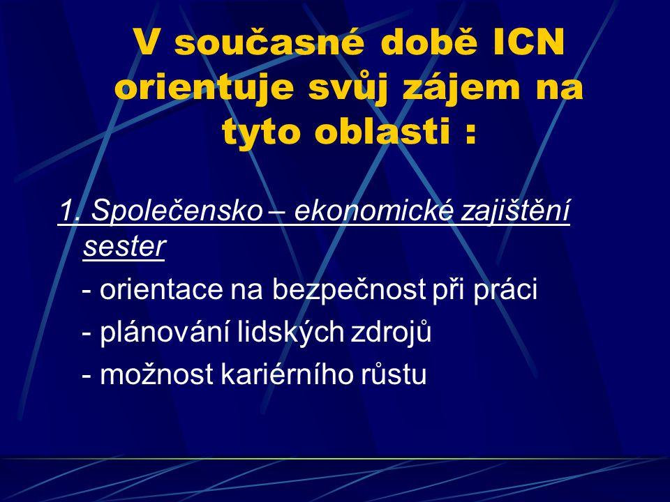 V současné době ICN orientuje svůj zájem na tyto oblasti : 1. Společensko – ekonomické zajištění sester - orientace na bezpečnost při práci - plánován