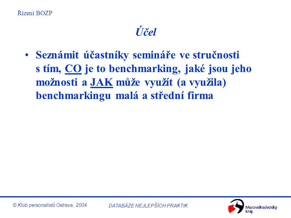 Řízení BOZP © Klub personalistů Ostrava, 2004 DATABÁZE NEJLEPŠÍCH PRAKTIK Účel Seznámit účastníky semináře ve stručnosti s tím, CO je to benchmarking, jaké jsou jeho možnosti a JAK může využít (a využila) benchmarkingu malá a střední firma