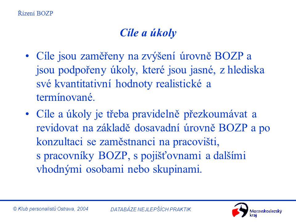 Řízení BOZP © Klub personalistů Ostrava, 2004 DATABÁZE NEJLEPŠÍCH PRAKTIK Cíle a úkoly Organizace si musí vytýčit konkrétní cíle (krátkodobé, dlouhodo