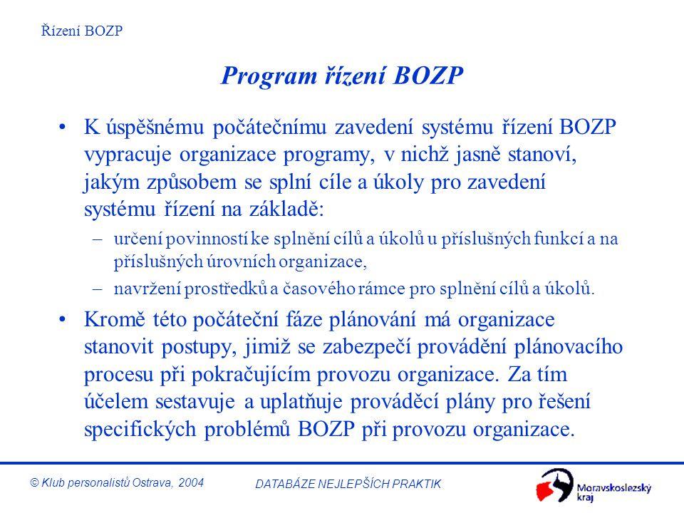 Řízení BOZP © Klub personalistů Ostrava, 2004 DATABÁZE NEJLEPŠÍCH PRAKTIK Ukazatelé úrovně BOZP Stanovení měřitelných ukazatelů úrovně bezpečnosti a o