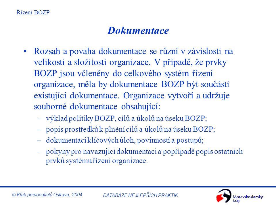 Řízení BOZP © Klub personalistů Ostrava, 2004 DATABÁZE NEJLEPŠÍCH PRAKTIK Komunikace Organizace zavede postupy zajišťující, aby příslušné informace o