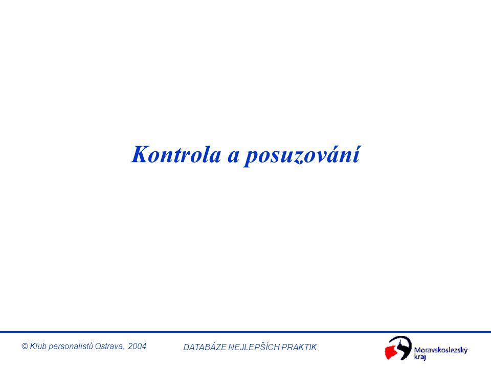 Řízení BOZP © Klub personalistů Ostrava, 2004 DATABÁZE NEJLEPŠÍCH PRAKTIK Hodnocení rizika Hodnocení rizika je proces, který se užívá k určení míry oh