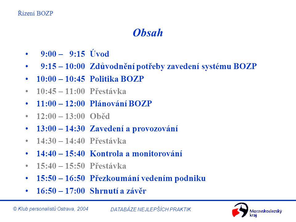 Řízení BOZP © Klub personalistů Ostrava, 2004 DATABÁZE NEJLEPŠÍCH PRAKTIK Obsah 9:00 – 9:15 Úvod 9:15 – 10:00 Zdůvodnění potřeby zavedení systému BOZP 10:00 – 10:45 Politika BOZP 10:45 – 11:00 Přestávka 11:00 – 12:00 Plánování BOZP 12:00 – 13:00 Oběd 13:00 – 14:30 Zavedení a provozování 14:30 – 14:40 Přestávka 14:40 – 15:40 Kontrola a monitorování 15:40 – 15:50 Přestávka 15:50 – 16:50 Přezkoumání vedením podniku 16:50 – 17:00 Shrnutí a závěr