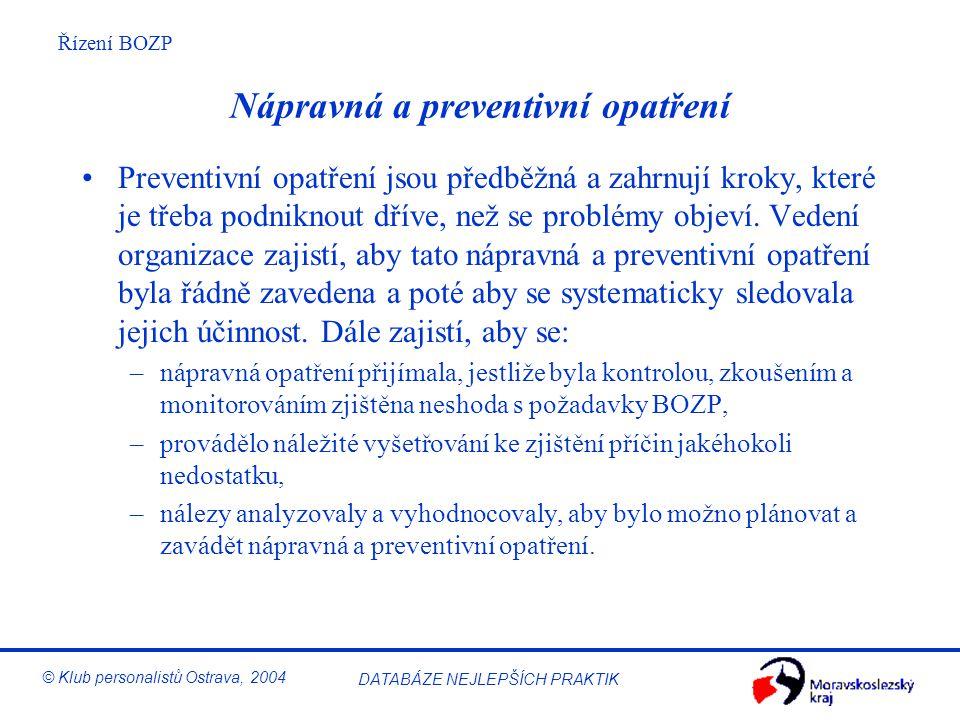 Řízení BOZP © Klub personalistů Ostrava, 2004 DATABÁZE NEJLEPŠÍCH PRAKTIK Audity systému řízení BOZP Pravidelné audity jsou nezbytné k ověření, zda je