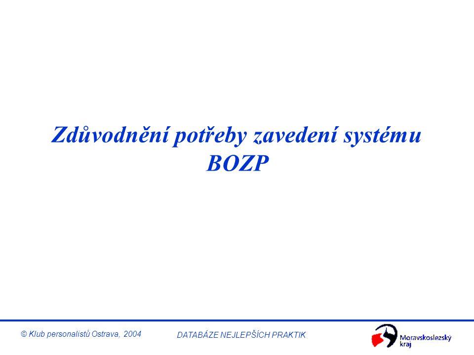 Řízení BOZP © Klub personalistů Ostrava, 2004 DATABÁZE NEJLEPŠÍCH PRAKTIK Obsah 9:00 – 9:15 Úvod 9:15 – 10:00 Zdůvodnění potřeby zavedení systému BOZP