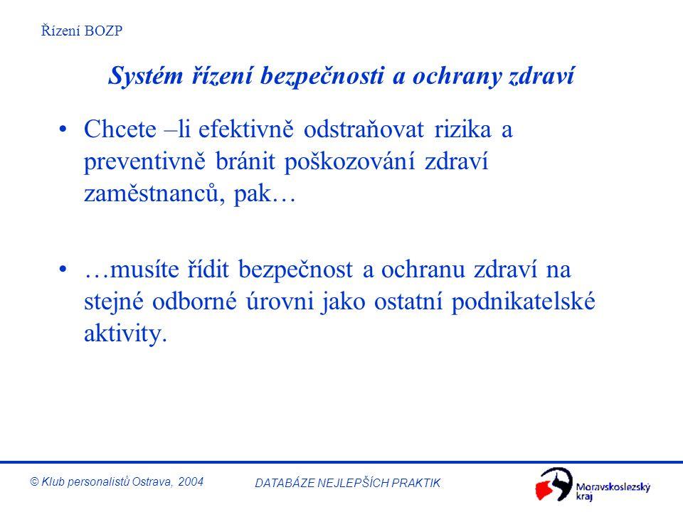 Řízení BOZP © Klub personalistů Ostrava, 2004 DATABÁZE NEJLEPŠÍCH PRAKTIK Systém řízení bezpečnosti a ochrany zdraví Chcete –li efektivně odstraňovat rizika a preventivně bránit poškozování zdraví zaměstnanců, pak… …musíte řídit bezpečnost a ochranu zdraví na stejné odborné úrovni jako ostatní podnikatelské aktivity.
