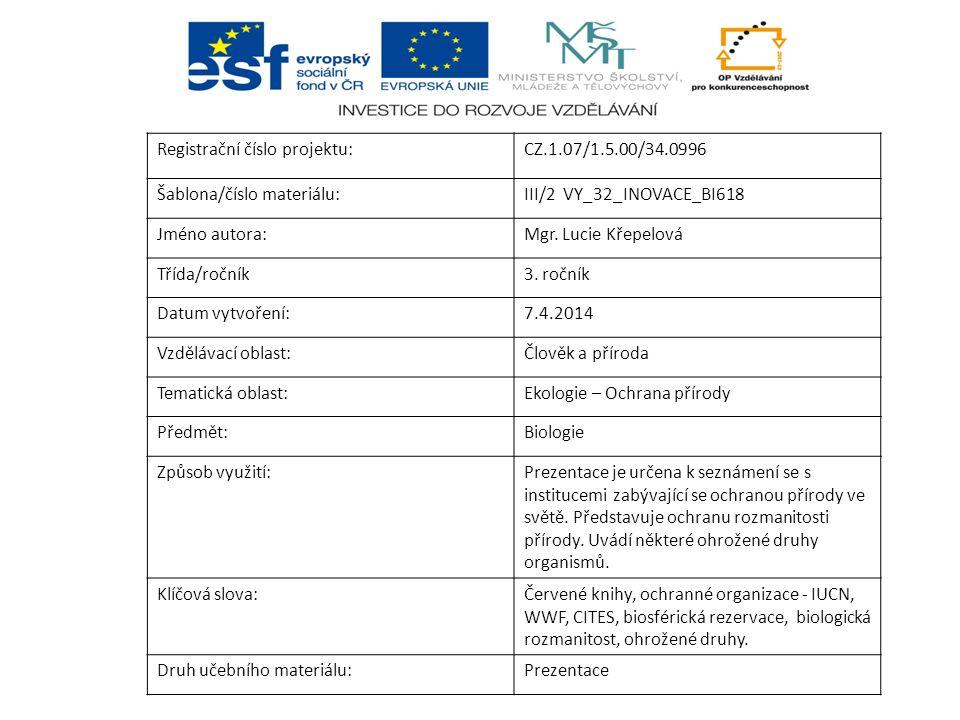 Registrační číslo projektu:CZ.1.07/1.5.00/34.0996 Šablona/číslo materiálu:III/2 VY_32_INOVACE_BI618 Jméno autora:Mgr. Lucie Křepelová Třída/ročník3. r