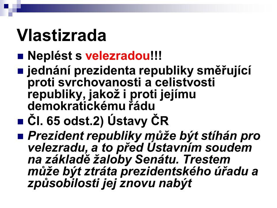 Vlastizrada Neplést s velezradou!!! jednání prezidenta republiky směřující proti svrchovanosti a celistvosti republiky, jakož i proti jejímu demokrati