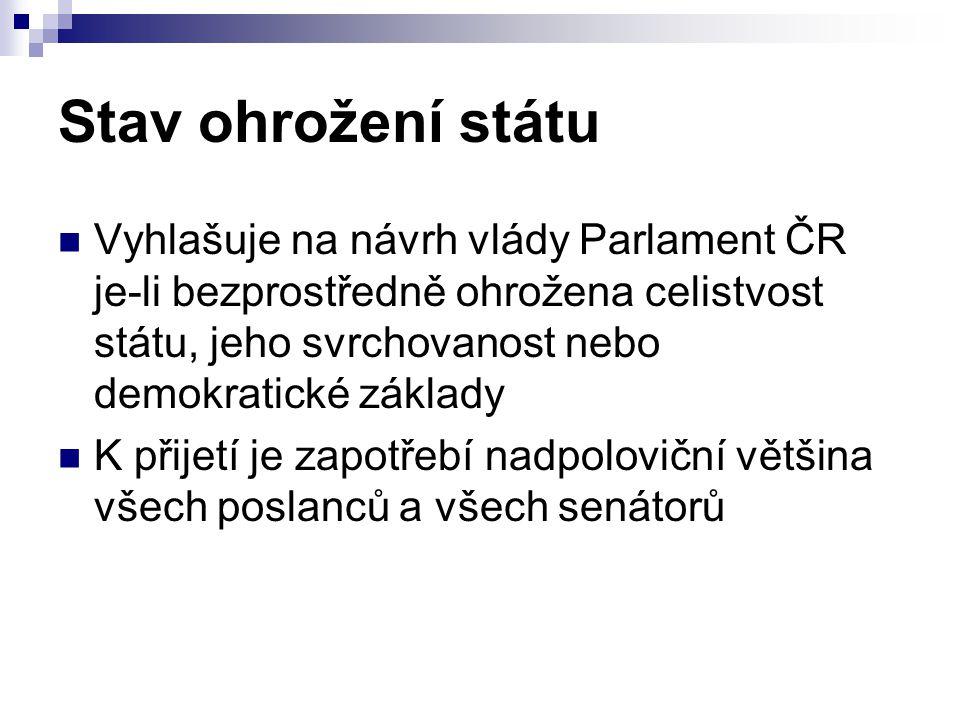 Stav ohrožení státu Vyhlašuje na návrh vlády Parlament ČR je-li bezprostředně ohrožena celistvost státu, jeho svrchovanost nebo demokratické základy K
