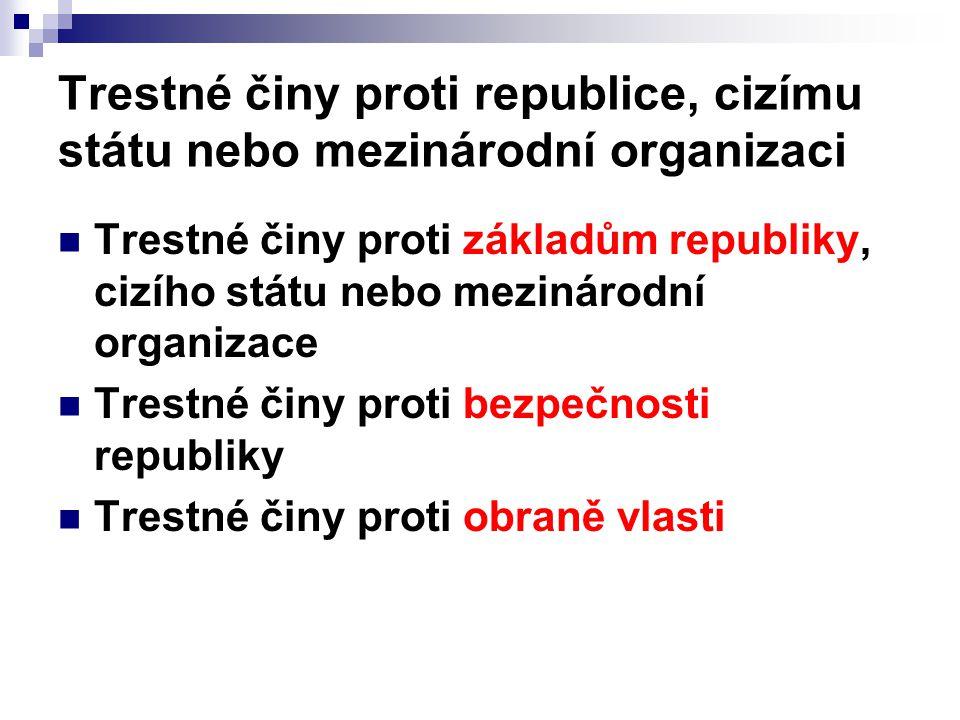 Trestné činy proti republice, cizímu státu nebo mezinárodní organizaci Trestné činy proti základům republiky, cizího státu nebo mezinárodní organizace