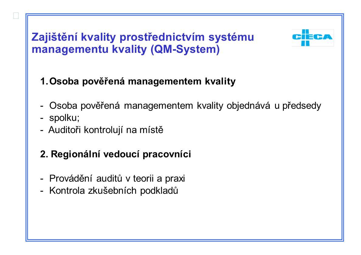  Zajištění kvality prostřednictvím systému managementu kvality (QM-System) 1.Osoba pověřená managementem kvality -Osoba pověřená managementem kvality objednává u předsedy -spolku; - Auditoři kontrolují na místě 2.