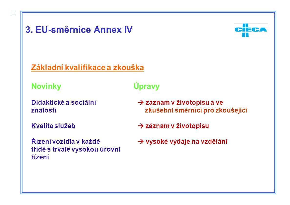  3. EU-směrnice Annex IV Základní kvalifikace a zkouška Novinky Úpravy Didaktické a sociální  záznam v životopisu a ve znalosti zkušební směrnici pr