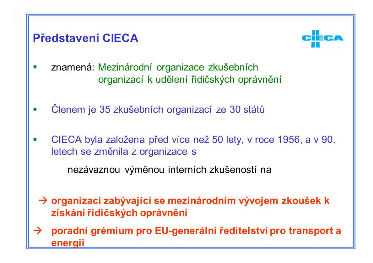  Představení CIECA  znamená: Mezinárodní organizace zkušebních organizací k udělení řidičských oprávnění  Členem je 35 zkušebních organizací ze 30 států  CIECA byla založena před více než 50 lety, v roce 1956, a v 90.