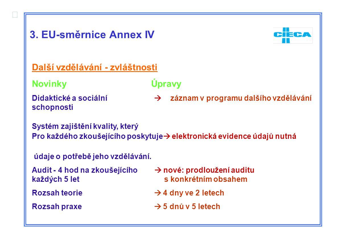  3. EU-směrnice Annex IV Další vzdělávání - zvláštnosti Novinky Úpravy Didaktické a sociální  záznam v programu dalšího vzdělávání schopnosti Systém