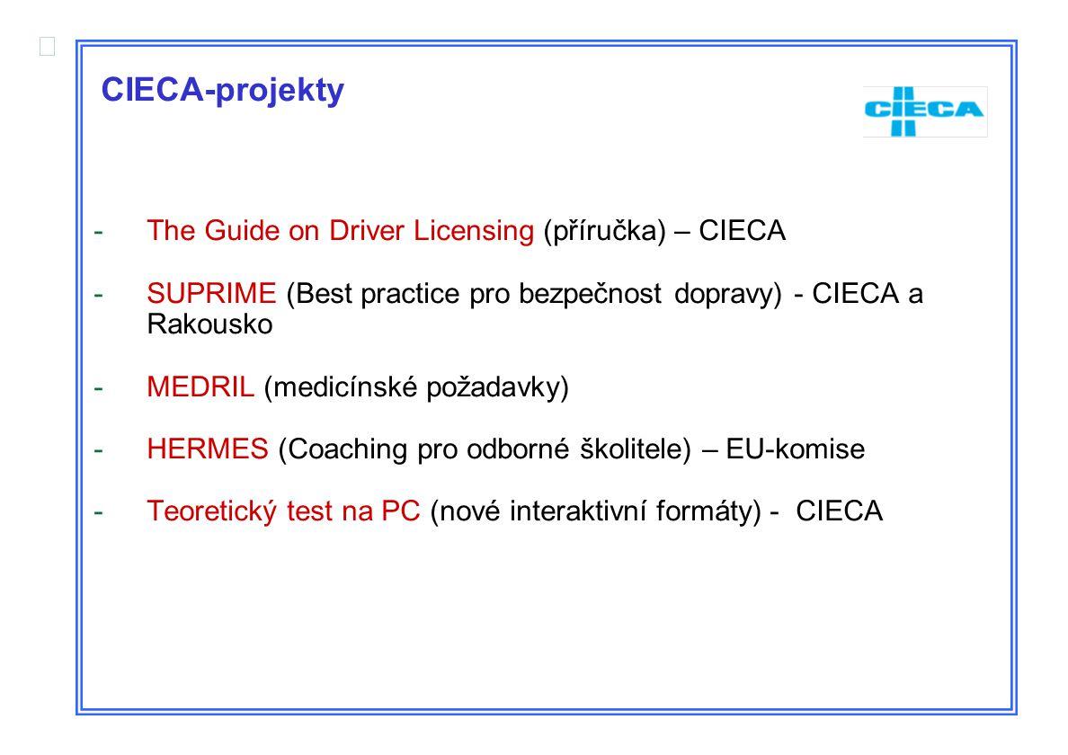  CIECA-projekty -The Guide on Driver Licensing (příručka) – CIECA -SUPRIME (Best practice pro bezpečnost dopravy) - CIECA a Rakousko -MEDRIL (medicínské požadavky) -HERMES (Coaching pro odborné školitele) – EU-komise -Teoretický test na PC (nové interaktivní formáty) - CIECA