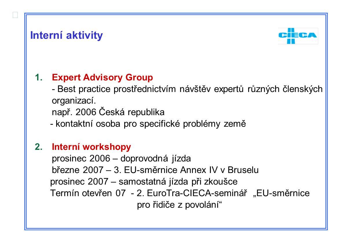  Interní aktivity 1.Expert Advisory Group - Best practice prostřednictvím návštěv expertů různých členských organizací. např. 2006 Česká republika -