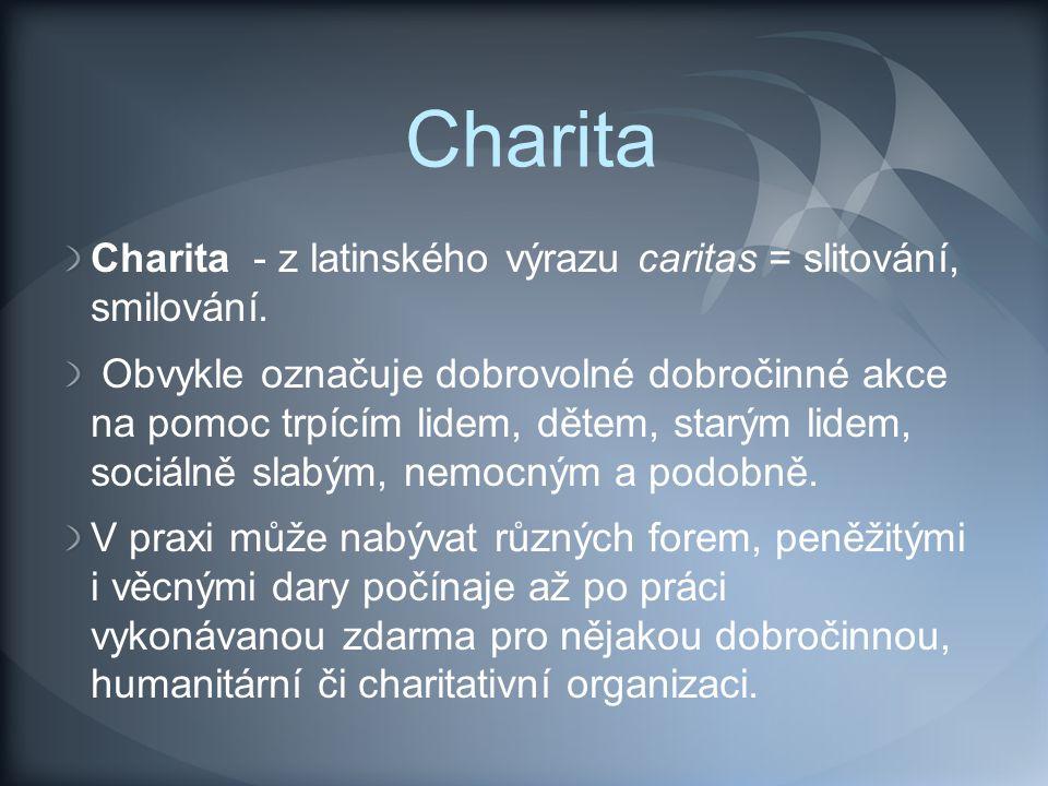Charita ADRA Charita Česká republika Člověk v tísni Diakonie Českobratrské církve evangelické Filantropie (dobročinnost) Fondomat