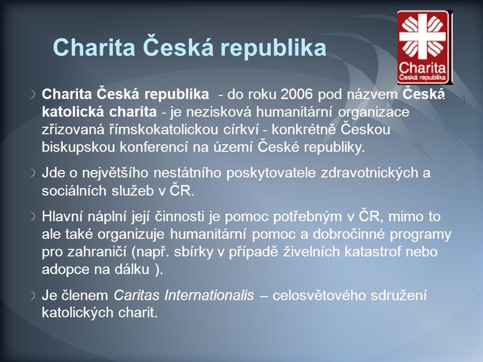 Charita Česká republika Charita Česká republika - do roku 2006 pod názvem Česká katolická charita - je nezisková humanitární organizace zřizovaná říms