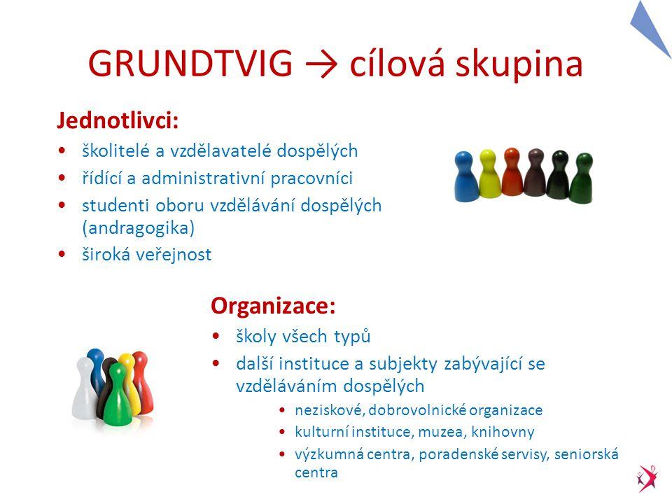 GRUNDTVIG pro jednotlivce → osoby ve vzdělávání dospělých A) Vzdělávací kurzy - akce v zahraničí (kurz, seminář) → až 6 týdnů, až 1700 EUR kurzy z on-line databáze Grundtvig X vlastní vyhledávání B) Stáže: návštěva v zahraniční organizaci stejného charakteru jako domácí organizace (stínování kolegy, studium aspektů vzdělávání dospělých …) → až 12 týdnů, až 1 700 EUR C) Účast na konferenci k tématu vzdělávání dospělých → až 1 000 EUR D) Asistentské pobyty - aktivní pobyt v zahraniční organizaci stejného zaměření jako domácí organizace → až 45 týdnů, až 12 660 EUR Kateřina Laňková asistentský pobyt v organizaci Miroir Vagabond (Belgie, Brusel)