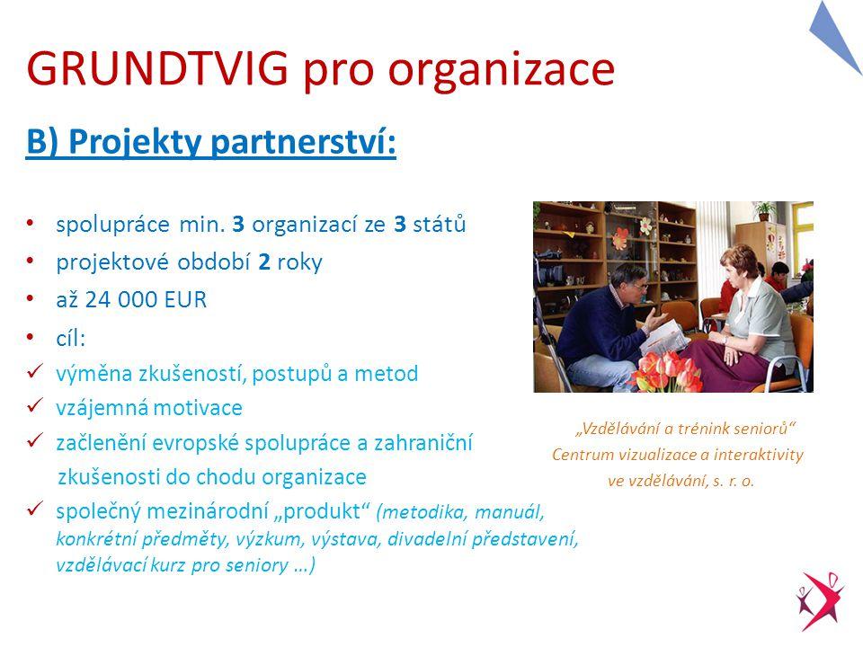 GRUNDTVIG pro organizace B) Projekty partnerství: spolupráce min.
