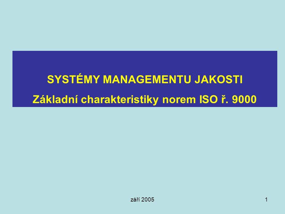 září 20051 SYSTÉMY MANAGEMENTU JAKOSTI Základní charakteristiky norem ISO ř. 9000