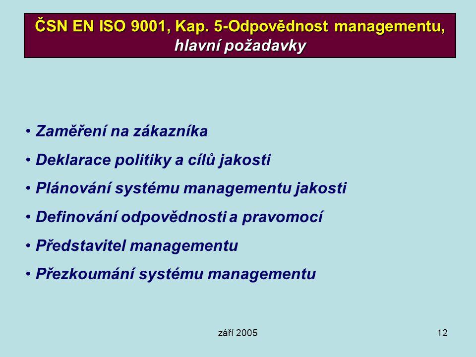 září 200512 ČSN EN ISO 9001, Kap. 5-Odpovědnost managementu, hlavní požadavky Zaměření na zákazníka Deklarace politiky a cílů jakosti Plánování systém
