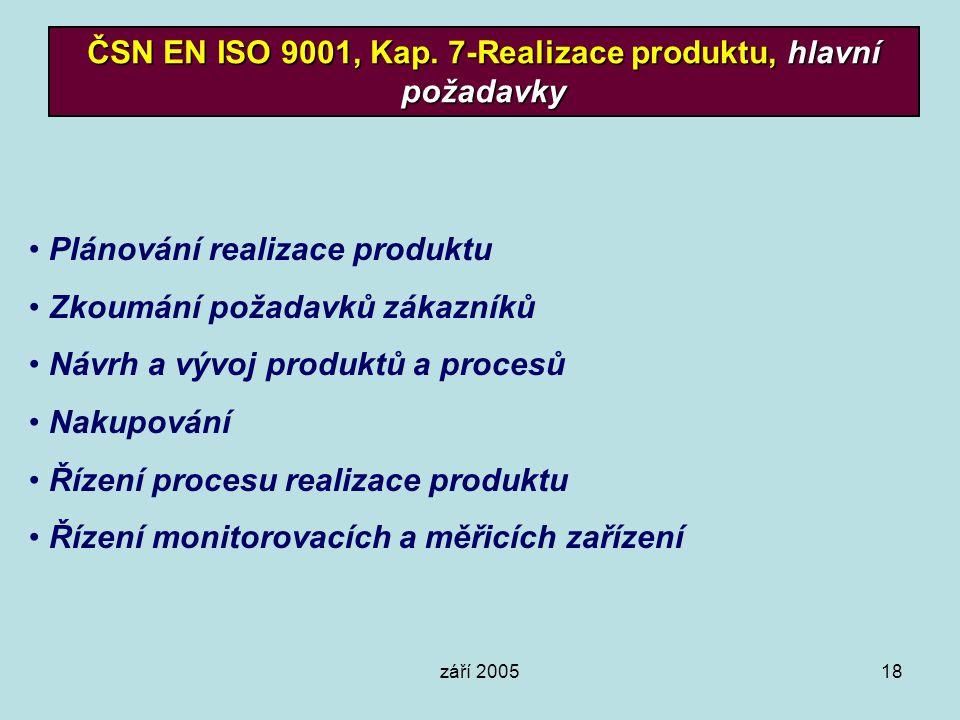 září 200518 ČSN EN ISO 9001, Kap. 7-Realizace produktu, hlavní požadavky Plánování realizace produktu Zkoumání požadavků zákazníků Návrh a vývoj produ